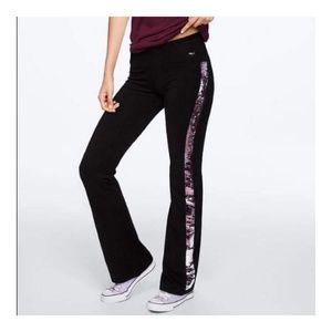 NWOT VS PINK Yoga Side Sequin Bling Flare Pants